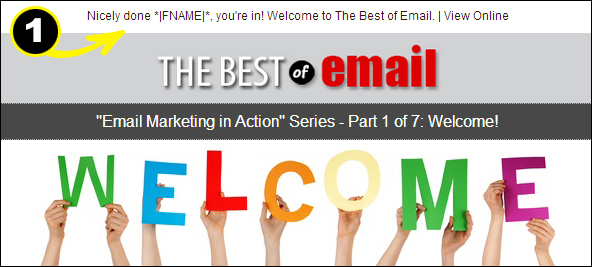 Welcome Email preheader example