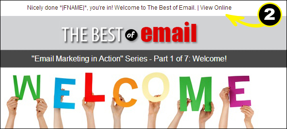 "Welcome Email ""View Online"" link example"
