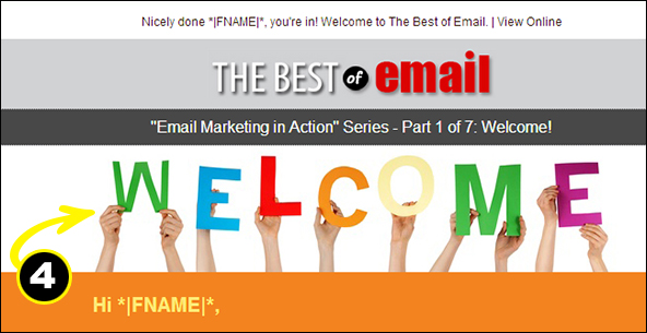 Welcome Email example of visual appeal