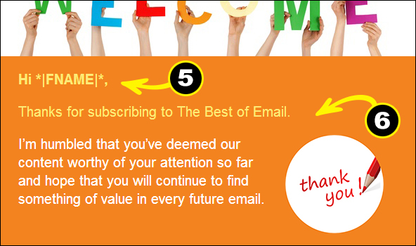 Welcome Email example of personalization