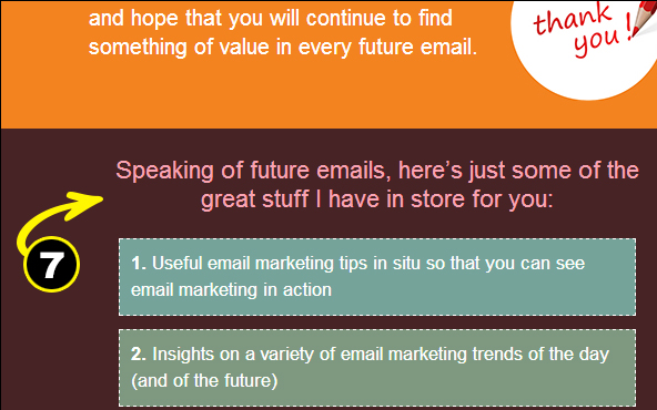 Welcome Email example of setting expectations