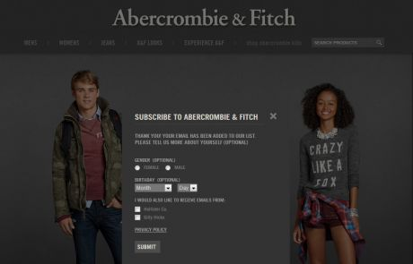 Abercrombie & Fitch (Newsletter Signup Inspiration)