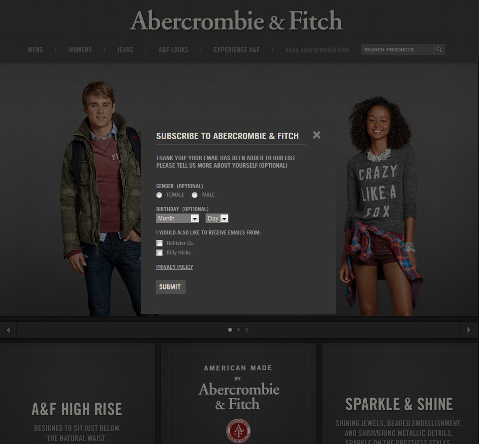 sensory marketing abercrombie and fitch Abercrombie and fitch stores, for example, famously overpower their customers' senses with loud music, strong scents, club lighting, and attractive models while not all customers reported positive reactions to being overwhelmed this way, such sensory marketing has worked well enough for abercrombie and fitch for the company to deploy.