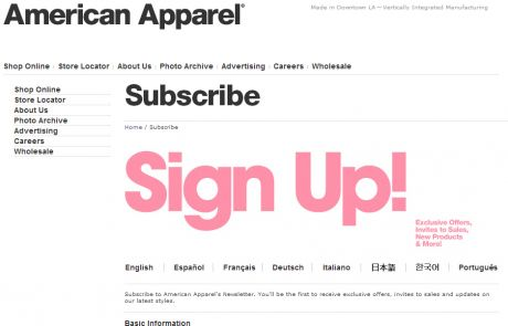 American Apparel Newsletter Signup Page
