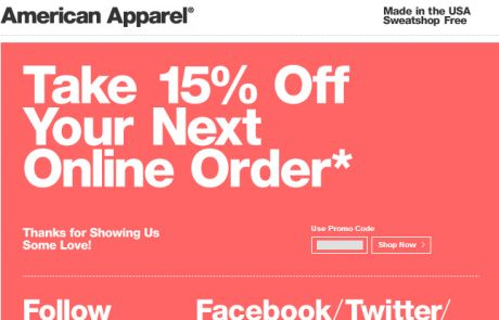 American Apparel Welcome Email