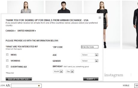 Armani Exchange (Newsletter Signup Inspiration)