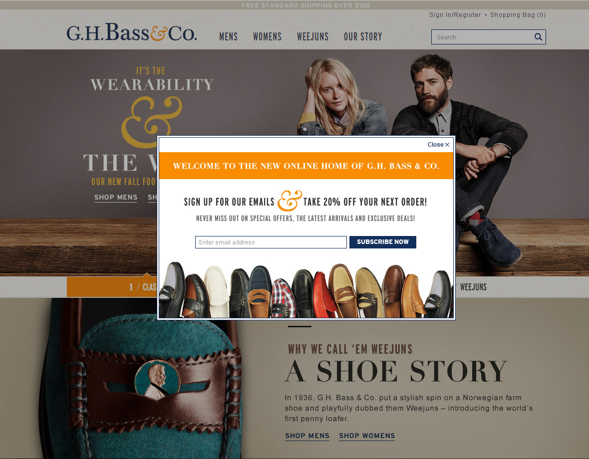 G.H. Bass   Co (Newsletter Signup Pop-up Example) - The Best of Email 913def1cc4