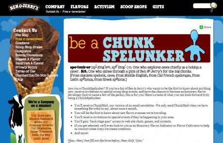 Ben & Jerry's (Newsletter Signup Inspiration)