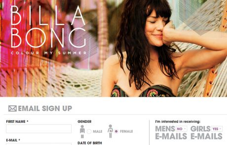 Billabong (Newsletter Signup Inspiration)