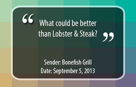 Bonefish Grill Subject Line - Lobster and Steak