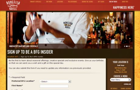 Bonefish Grill (Newsletter Signup Inspiration)
