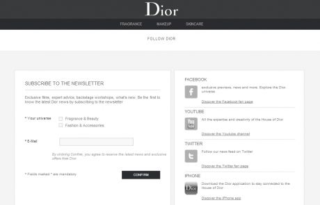 Christian Dior Newsletter Signup Page