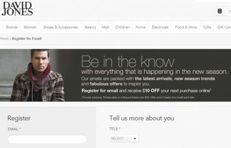 David Jones (Newsletter Signup Inspiration)