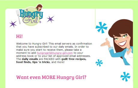 Hungry Girl Welcome Email