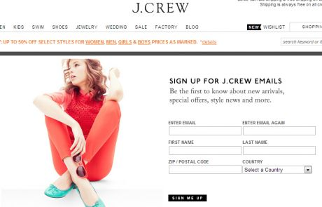 J.Crew (Newsletter Signup Inspiration)