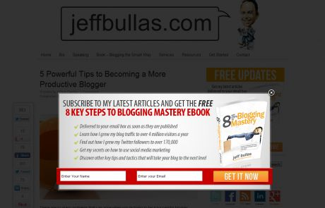 jeffbullas.com (Newsletter Signup Pop-up Example)