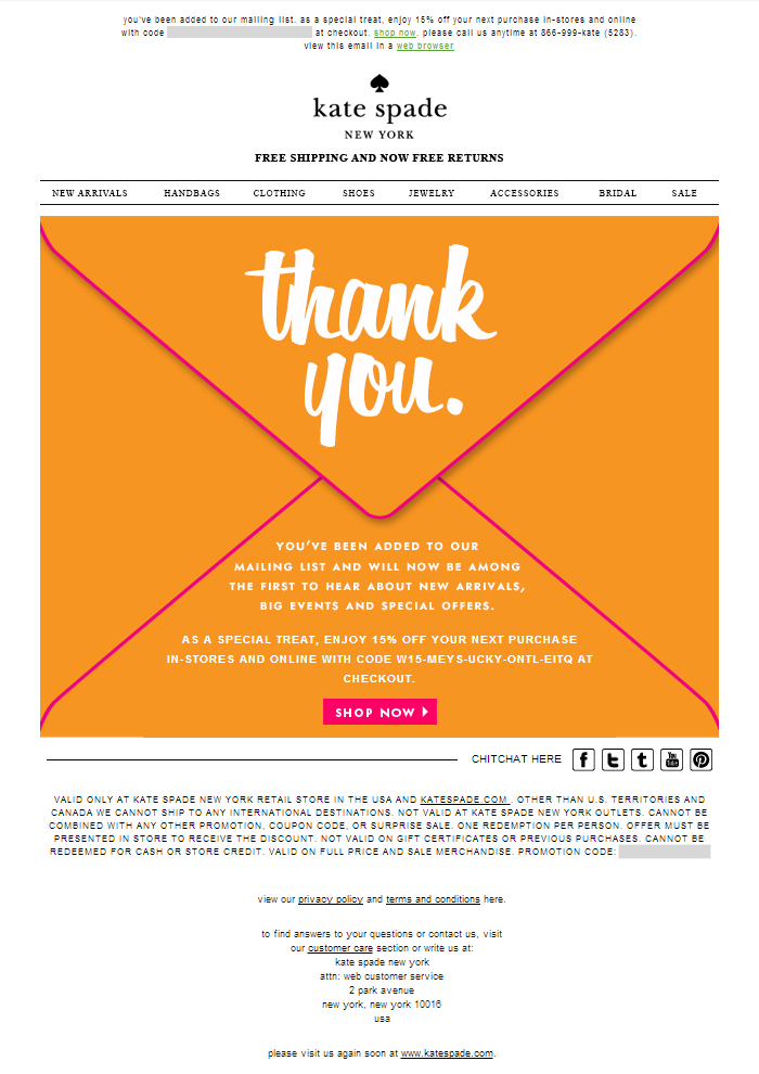 Kate Spade Welcome Email - The Best of Email
