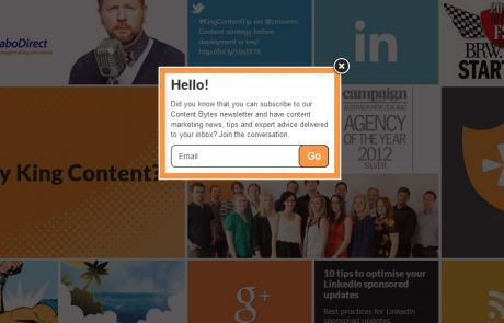 King Content (Newsletter Signup Pop-up Example)
