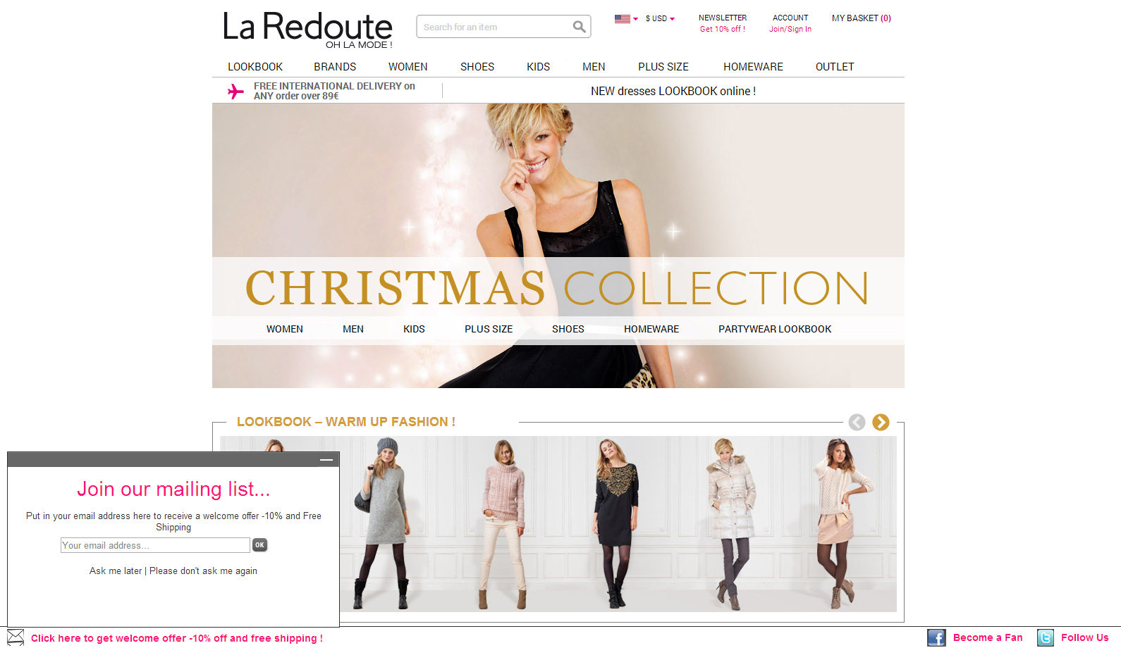 La redoute newsletter signup pop up example the best - La redoute contact mail ...