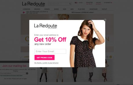 La Redoute (Newsletter Signup Pop-up Example)