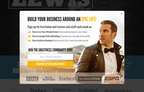 Lewis Howes (Newsletter Signup Pop-up Example)