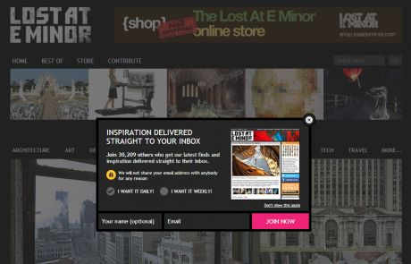 Lost At E Minor (Newsletter Signup Pop-up Example)