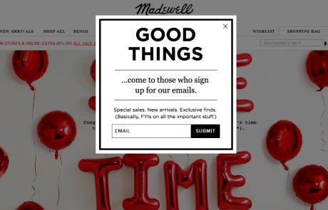 Madewell (Newsletter Signup Pop-up Example) - December 2013