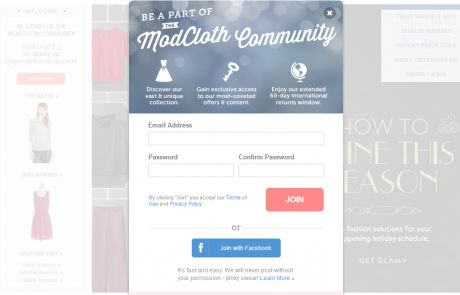 ModCloth (Newsletter Signup Pop-up Example)
