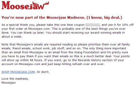 Moosejaw Welcome Email