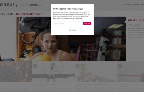 Narratively (Newsletter Signup Pop-up Example)