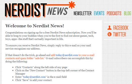 Nerdist News Welcome Email