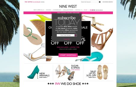 Nine West (Newsletter Signup Pop-up Example)