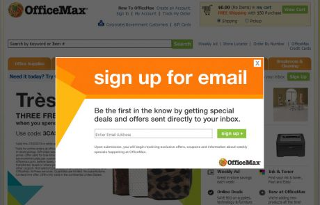 OfficeMax (Newsletter Signup Pop-up Example)