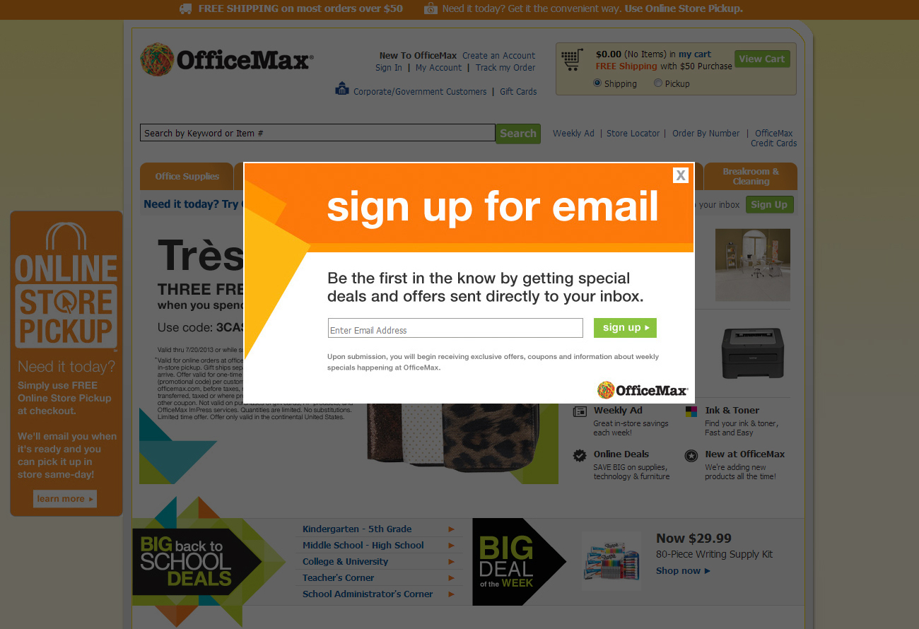 OfficeMax (Newsletter Signup Pop Up Example)  Example Of A News Letter