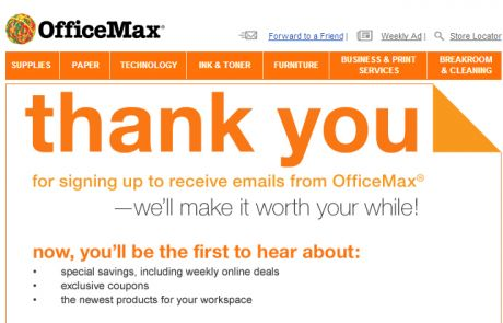 OfficeMax Welcome Email