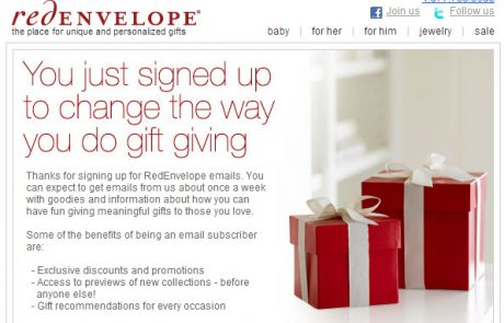 RedEnvelope Welcome Email