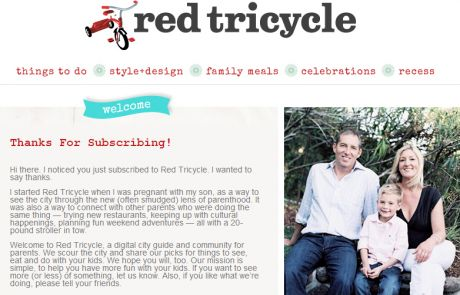 Red Tricycle Welcome Email