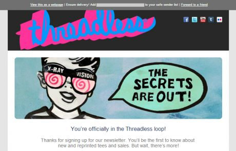 Threadless Welcome Email