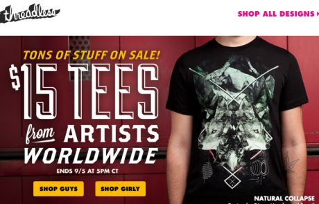 Threadless Sale Email - A bird, a ninja, and a cat walk into a $15 tee sale
