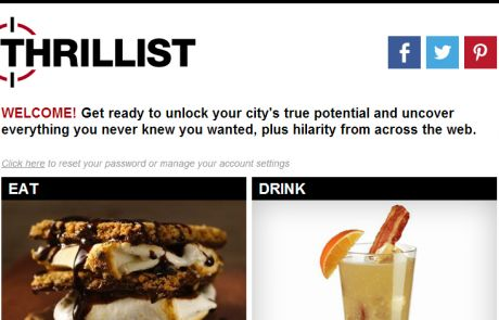Thrillist Welcome Email