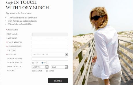 Tory Burch (Newsletter Signup Inspiration)