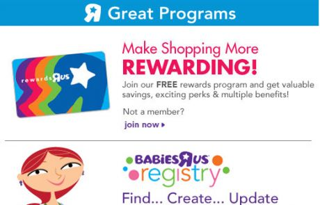 Toys R Us Welcome Email
