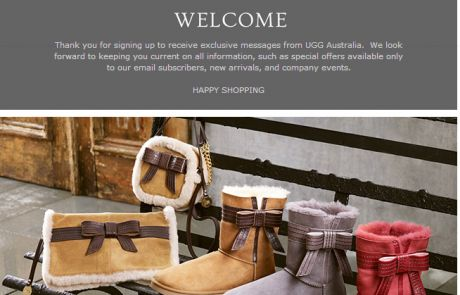 UGG Australia Welcome Email