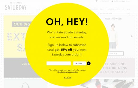 Saturday (Newsletter Signup Pop-up Promotion)