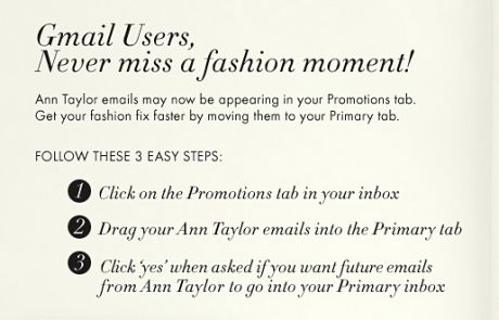 "Ann Taylor Gmail ""Move Me"" Campaign - August 2013"