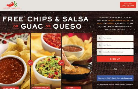 Chili's (Newsletter Signup Promotion Example)