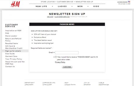 H&M (Newsletter Signup Promotion Example)
