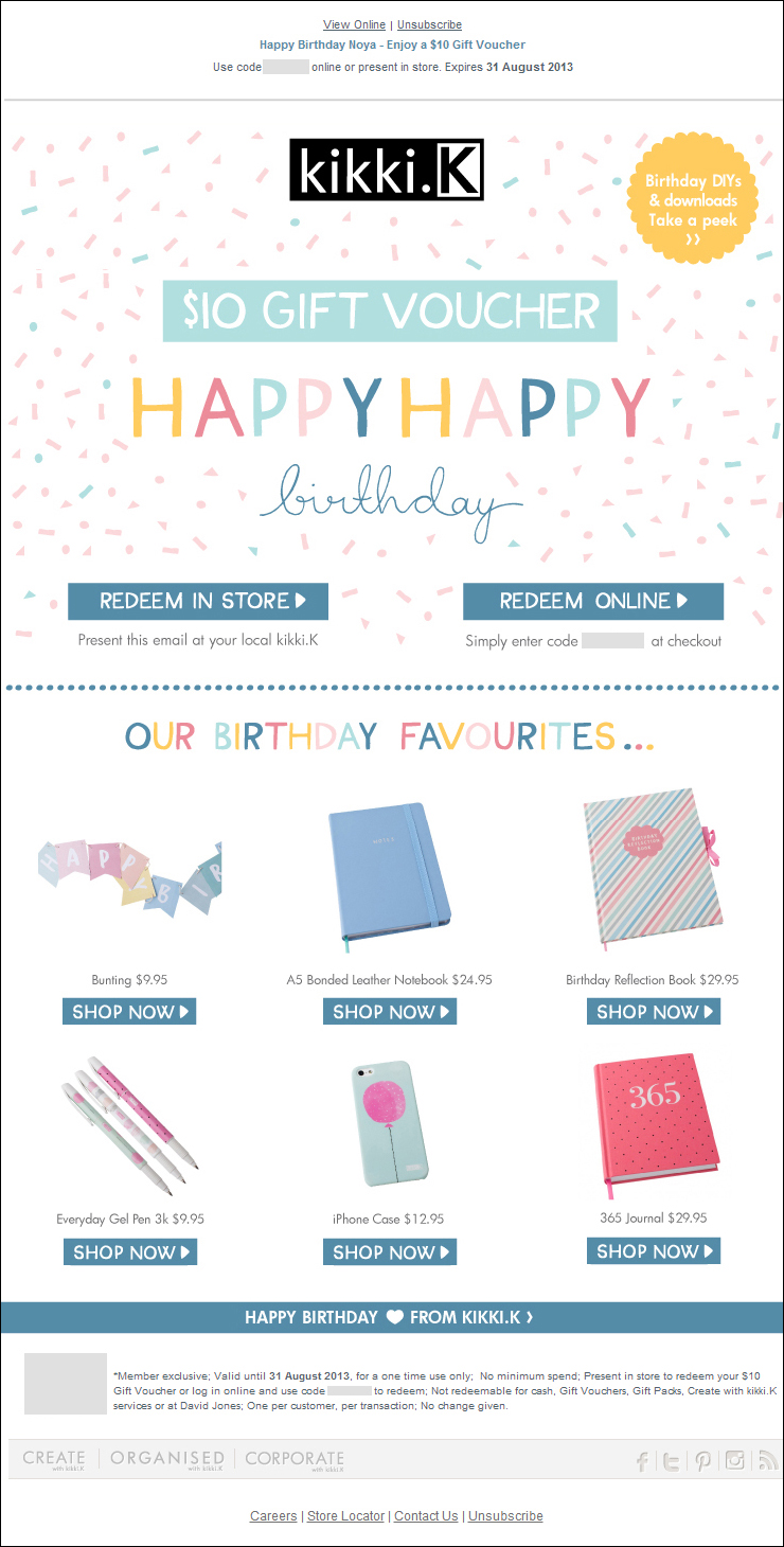 K Enjoy A 10 Gift Voucher Birthday Email
