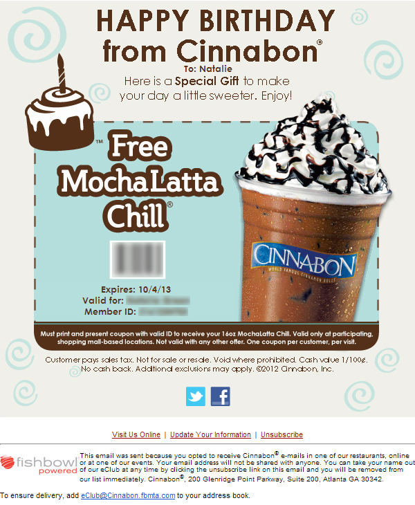 Cinnabon A Gift To Make Your Day A Little Sweeter Birthday Email