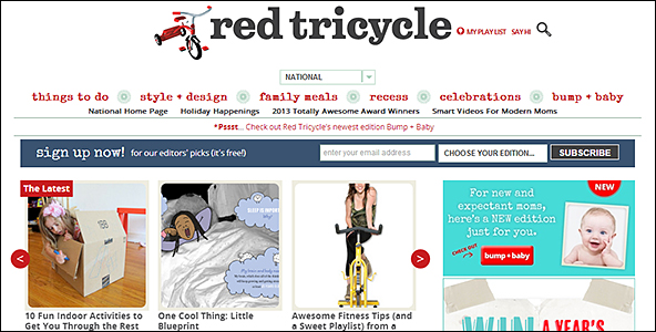 Example of prominent, site-wide newsletter signup (Red Tricycle)